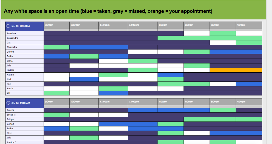 WCOnline Screenshot demonstrating the color code